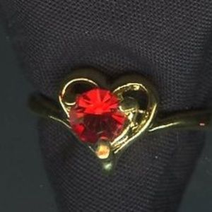 Ring, Gold Heart Red stone  valentine
